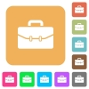 Satchel with two buckles rounded square flat icons - Satchel with two buckles flat icons on rounded square vivid color backgrounds.