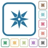 Compass simple icons - Compass simple icons in color rounded square frames on white background