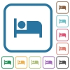 Hotel simple icons - Hotel simple icons in color rounded square frames on white background