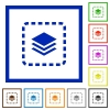 Place layer flat color icons in square frames on white background - Place layer flat framed icons