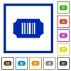 Ticket with barcode flat framed icons - Ticket with barcode flat color icons in square frames on white background