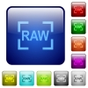 Camera raw image mode color square buttons - Camera raw image mode icons in rounded square color glossy button set