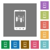 Mobile broker square flat icons - Mobile broker flat icons on simple color square backgrounds