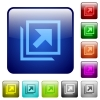 Open in new window icons in rounded square color glossy button set - Open in new window color square buttons