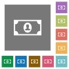 Single banknote  with portrait square flat icons - Single banknote  with portrait flat icons on simple color square backgrounds
