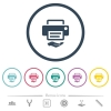 Shared printer flat color icons in round outlines. 6 bonus icons included. - Shared printer flat color icons in round outlines