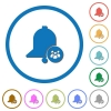 Team reminder flat color vector icons with shadows in round outlines on white background - Team reminder icons with shadows and outlines
