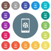Mobile movie flat white icons on round color backgrounds - Mobile movie flat white icons on round color backgrounds. 17 background color variations are included.