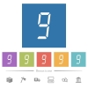 digital number nine of seven segment type flat white icons in square backgrounds - digital number nine of seven segment type flat white icons in square backgrounds. 6 bonus icons included.