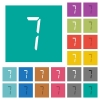 digital number seven of seven segment type square flat multi colored icons - digital number seven of seven segment type multi colored flat icons on plain square backgrounds. Included white and darker icon variations for hover or active effects.