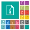 Compressed document multi colored flat icons on plain square backgrounds. Included white and darker icon variations for hover or active effects. - Compressed document square flat multi colored icons