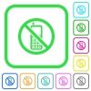 Cellphone not allowed vivid colored flat icons - Cellphone not allowed vivid colored flat icons in curved borders on white background