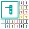 Left handed door handle with screws flat color icons with quadrant frames - Left handed door handle with screws flat color icons with quadrant frames on white background
