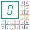 digital number zero of seven segment type flat color icons with quadrant frames - digital number zero of seven segment type flat color icons with quadrant frames on white background