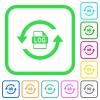 Log file rotation vivid colored flat icons - Log file rotation vivid colored flat icons in curved borders on white background