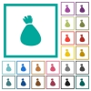 Money bag flat color icons with quadrant frames - Money bag flat color icons with quadrant frames on white background