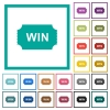 Winner ticket flat color icons with quadrant frames - Winner ticket flat color icons with quadrant frames on white background