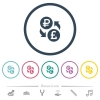 Ruble Pound money exchange flat color icons in round outlines - Ruble Pound money exchange flat color icons in round outlines. 6 bonus icons included.