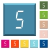digital number five of seven segment type white icons on edged square buttons - digital number five of seven segment type white icons on edged square buttons in various trendy colors