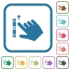 Right handed scroll up gesture simple icons - Right handed scroll up gesture simple icons in color rounded square frames on white background