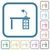 Desk with lamp simple icons - Desk with lamp simple icons in color rounded square frames on white background