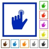 left handed clicking gesture flat framed icons - left handed clicking gesture flat color icons in square frames on white background