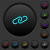 Paperclip dark push buttons with color icons - Paperclip dark push buttons with vivid color icons on dark grey background