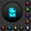 Broken page dark push buttons with color icons - Broken page dark push buttons with vivid color icons on dark grey background