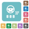 Car controls rounded square flat icons - Car controls white flat icons on color rounded square backgrounds