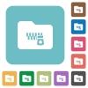 Zipped folder rounded square flat icons - Zipped folder white flat icons on color rounded square backgrounds