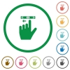 Left handed scroll left gesture flat color icons in round outlines on white background - Left handed scroll left gesture flat icons with outlines