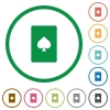 Spades card symbol flat icons with outlines - Spades card symbol flat color icons in round outlines on white background