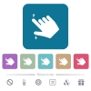 Right handed pinch open gesture flat icons on color rounded square backgrounds - Right handed pinch open gesture white flat icons on color rounded square backgrounds.