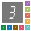 digital number three of seven segment type square flat icons - digital number three of seven segment type flat icons on simple color square backgrounds