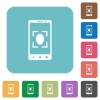 Mobile face detection rounded square flat icons - Mobile face detection white flat icons on color rounded square backgrounds