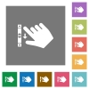 Right handed scroll down gesture square flat icons - Right handed scroll down gesture flat icons on simple color square backgrounds