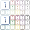digital number seven of seven segment type outlined flat color icons - digital number seven of seven segment type color flat icons in rounded square frames. Thin and thick versions included.