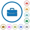 Satchel with two buckles icons with shadows and outlines - Satchel with two buckles flat color vector icons with shadows in round outlines on white background