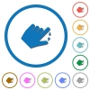 Left handed pinch close gesture icons with shadows and outlines - Left handed pinch close gesture flat color vector icons with shadows in round outlines on white background