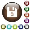 Lock file color glass buttons - Lock file white icons on round color glass buttons