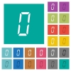 digital number zero of seven segment type square flat multi colored icons - digital number zero of seven segment type multi colored flat icons on plain square backgrounds. Included white and darker icon variations for hover or active effects.