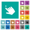 Right handed slide up gesture square flat multi colored icons - Right handed slide up gesture multi colored flat icons on plain square backgrounds. Included white and darker icon variations for hover or active effects.