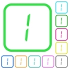digital number one of seven segment type vivid colored flat icons - digital number one of seven segment type vivid colored flat icons in curved borders on white background