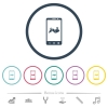 Mobile routing flat color icons in round outlines - Mobile routing flat color icons in round outlines. 6 bonus icons included.