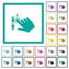 Right handed scroll up gesture flat color icons with quadrant frames - Right handed scroll up gesture flat color icons with quadrant frames on white background