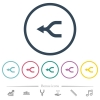 Merge arrows left flat color icons in round outlines. 6 bonus icons included. - Merge arrows left flat color icons in round outlines