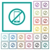 Smartphone not allowed flat color icons with quadrant frames - Smartphone not allowed flat color icons with quadrant frames on white background