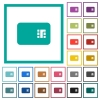 Chip card flat color icons with quadrant frames - Chip card flat color icons with quadrant frames on white background