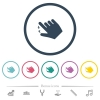 Right handed pinch close gesture flat color icons in round outlines - Right handed pinch close gesture flat color icons in round outlines. 6 bonus icons included.