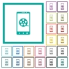 Mobile movie flat color icons with quadrant frames - Mobile movie flat color icons with quadrant frames on white background